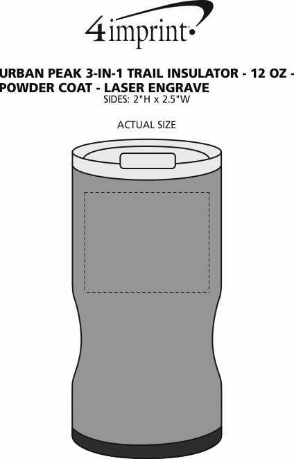 Imprint Area of Urban Peak 3-in-1 Trail Insulator - 12 oz. - Powder Coat - Laser Engraved