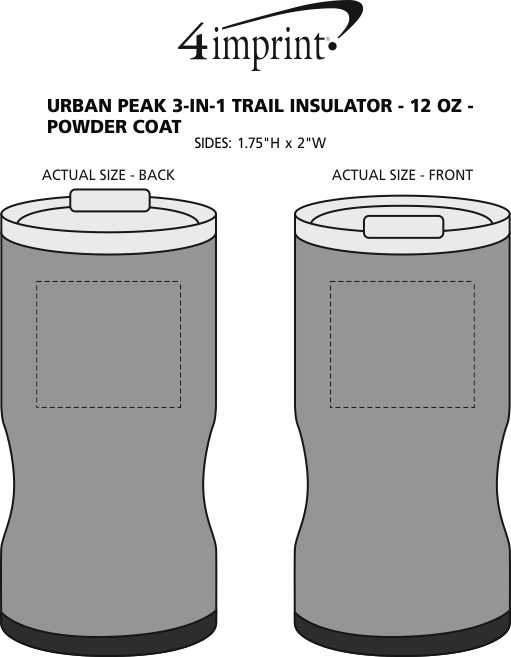 Imprint Area of Urban Peak 3-in-1 Trail Insulator - 12 oz. - Powder Coat