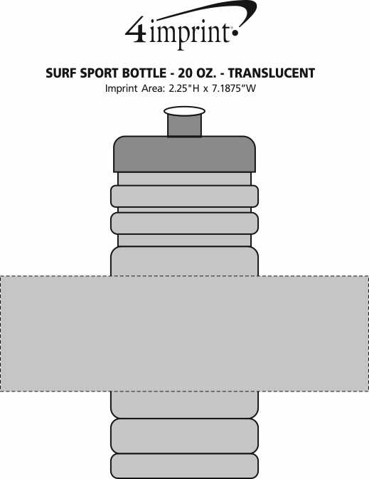 Imprint Area of Surf Sport Bottle - 20 oz. - Translucent