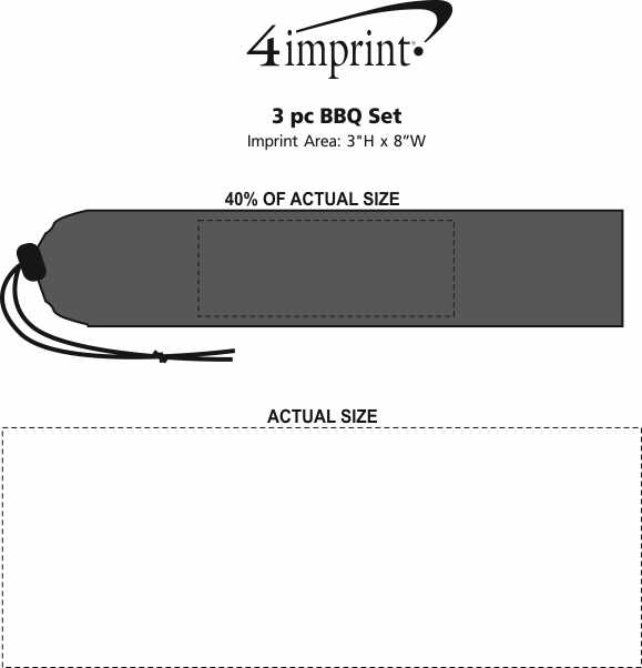 Imprint Area of 3-Piece BBQ Set