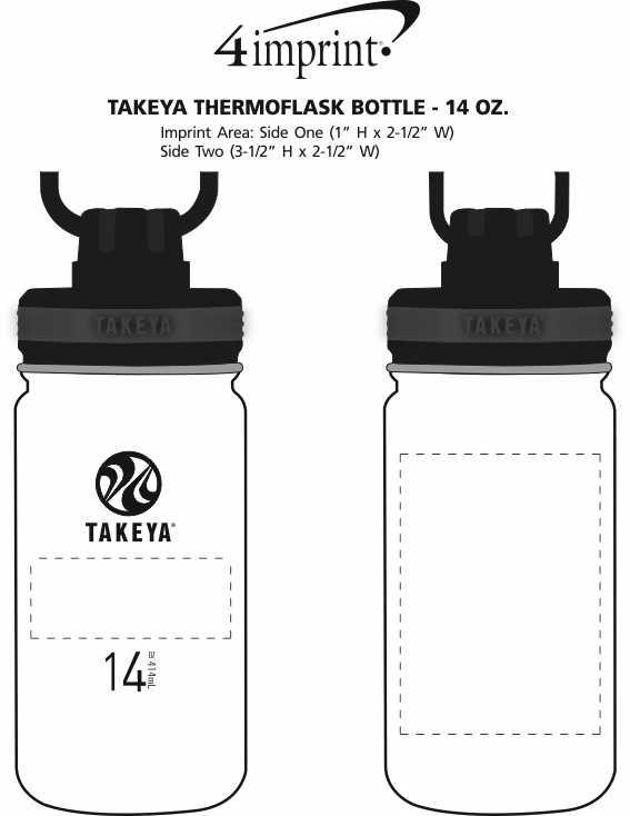 Imprint Area of Takeya Thermoflask Vacuum Bottle - 14 oz.