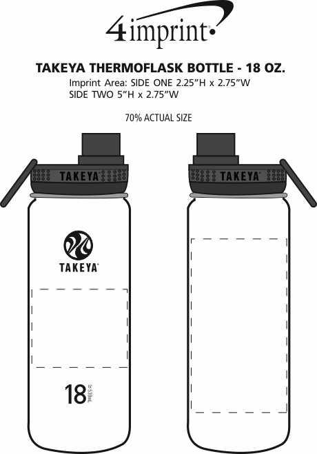 Imprint Area of Takeya Thermoflask Vacuum Bottle - 18 oz.