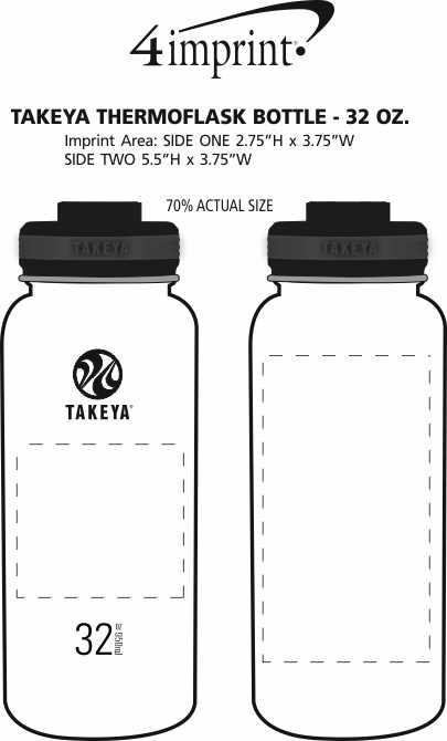 Imprint Area of Takeya Thermoflask Vacuum Bottle - 32 oz.