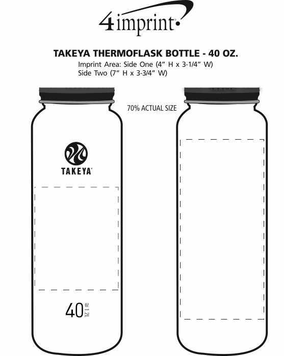 Imprint Area of Takeya Thermoflask Vacuum Bottle - 40 oz.