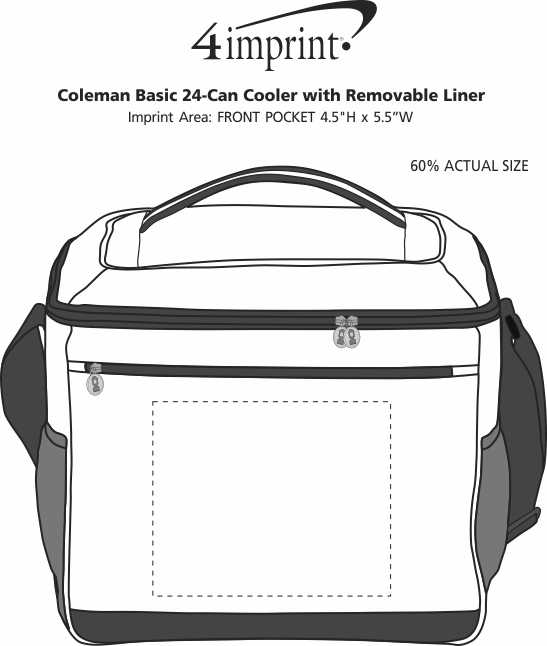 Imprint Area of Coleman Basic 24-Can Cooler with Removable Liner