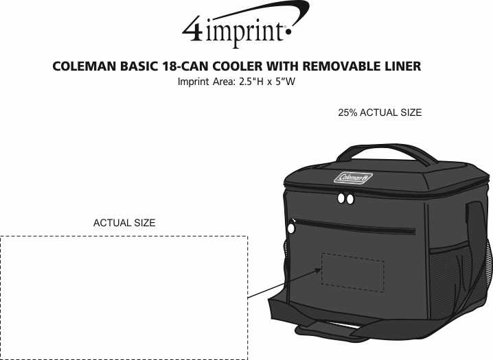 Imprint Area of Coleman Basic 18-Can Cooler with Removable Liner