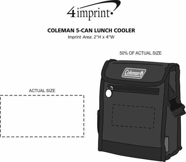 Imprint Area of Coleman 5-Can Lunch Cooler