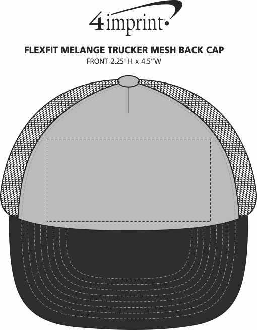 Imprint Area of Flexfit Melange Trucker Mesh Back Cap