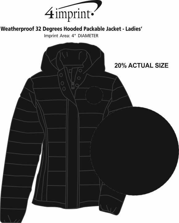 Imprint Area of Weatherproof 32 Degrees Hooded Packable Jacket - Ladies'