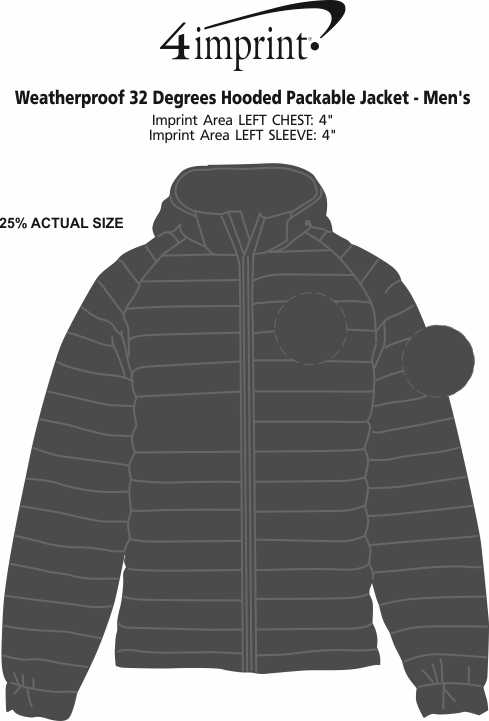 Imprint Area of Weatherproof 32 Degrees Hooded Packable Jacket - Men's
