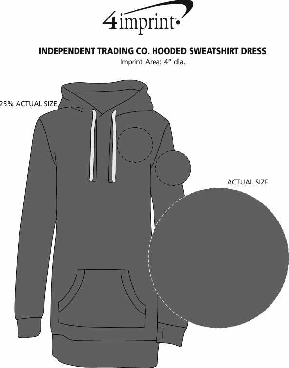 Imprint Area of Independent Trading Co. Hooded Sweatshirt Dress