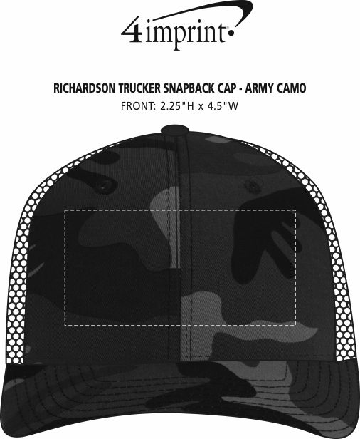 Imprint Area of Richardson Trucker Snapback Cap - Army Camo