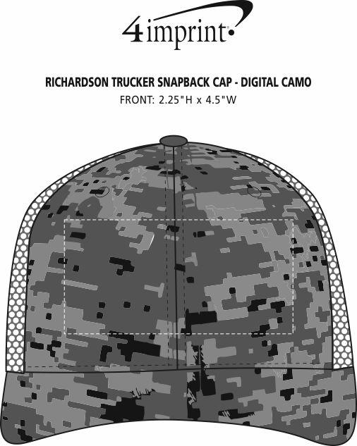 Imprint Area of Richardson Trucker Snapback Cap - Digital Camo