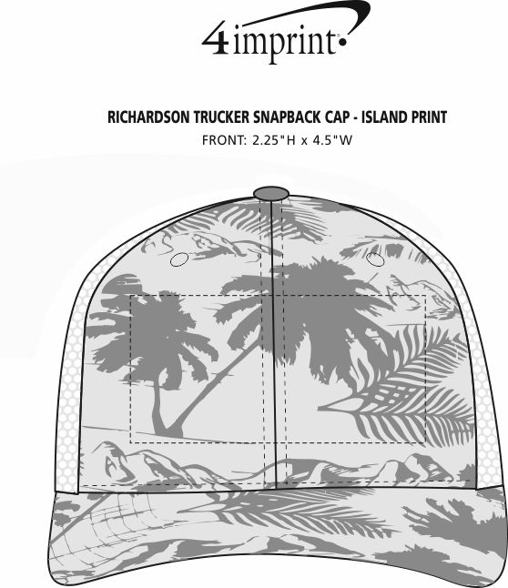 Imprint Area of Richardson Trucker Snapback Cap - Island Print