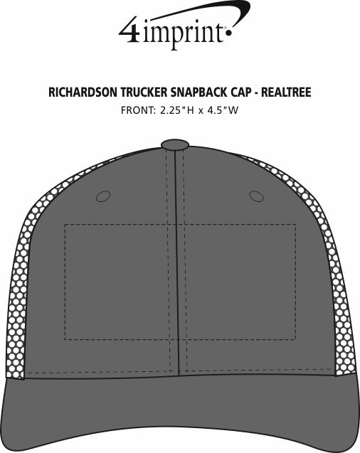 Imprint Area of Richardson Trucker Snapback Cap - Realtree