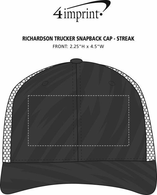 Imprint Area of Richardson Trucker Snapback Cap - Streak