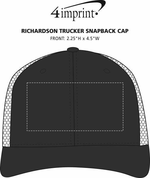 Imprint Area of Richardson Trucker Snapback Cap