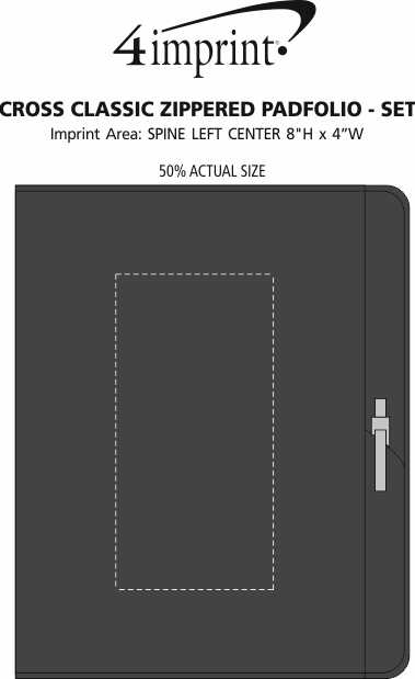 Imprint Area of Cross Classic Zippered Padfolio - Set