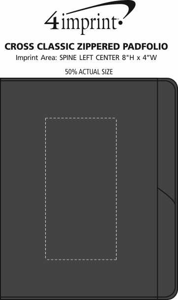 Imprint Area of Cross Classic Zippered Padfolio