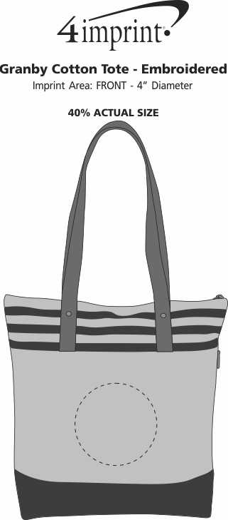 Imprint Area of Granby Cotton Tote - Embroidered