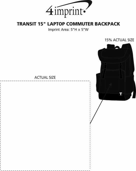 "Imprint Area of Tranzip 15"" Laptop Commuter Backpack"