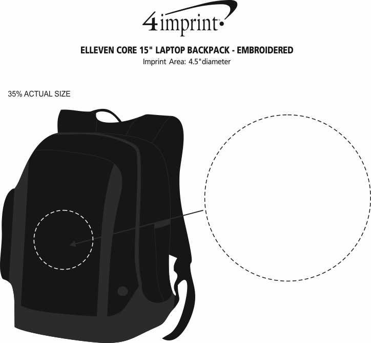 """Imprint Area of elleven Core 15"""" Laptop Backpack - Embroidered"""