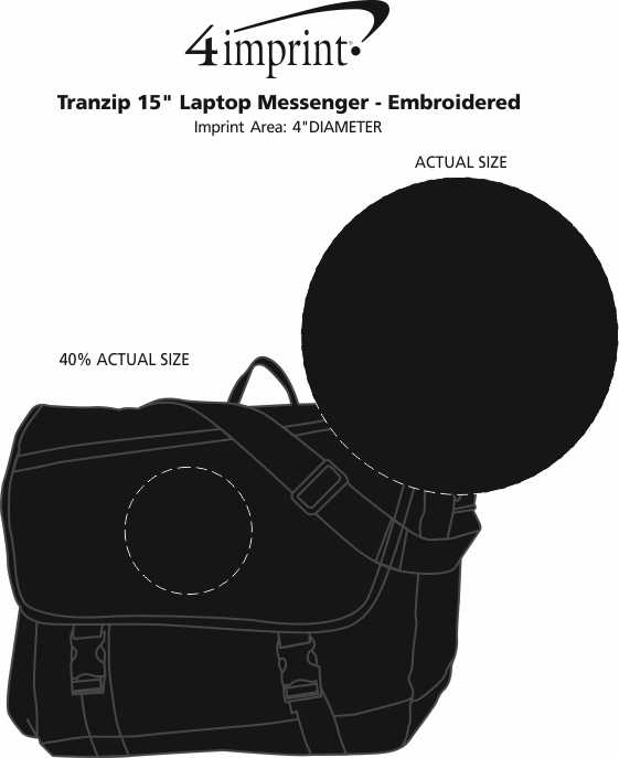 """Imprint Area of Tranzip 15"""" Laptop Messenger - Embroidered"""