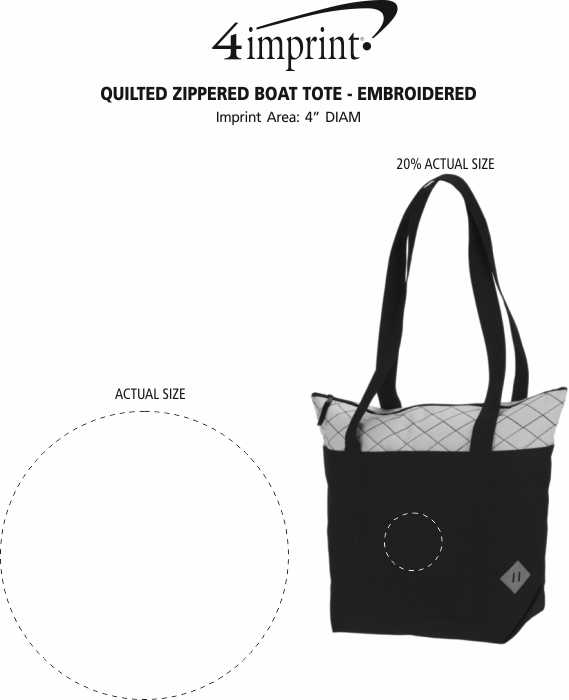 Imprint Area of Quilted Zippered Boat Tote - Embroidered