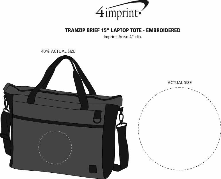 "Imprint Area of Tranzip Brief 15"" Laptop Tote - Embroidered"