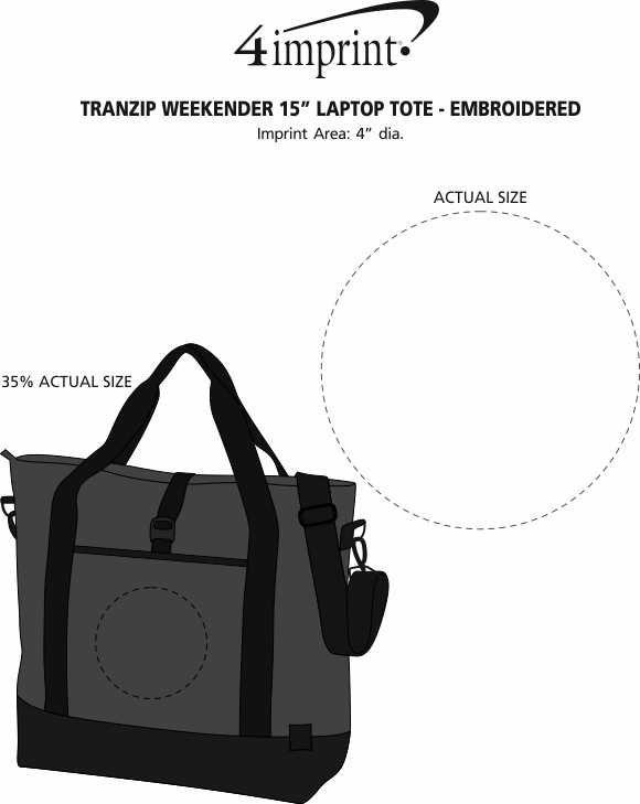 "Imprint Area of Tranzip Weekender 15"" Laptop Tote - Embroidered"