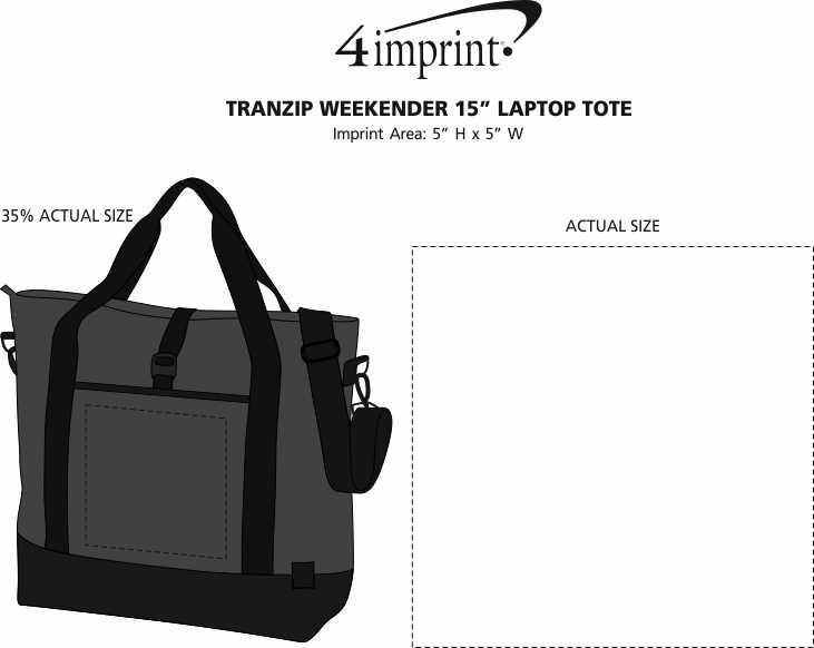 """Imprint Area of Tranzip Weekender 15"""" Laptop Tote"""