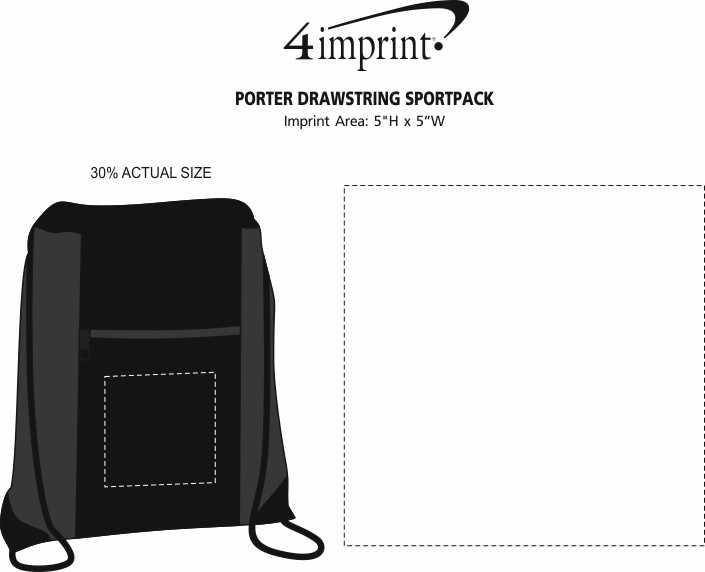 Imprint Area of Porter Drawstring Sportpack