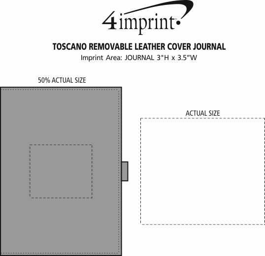 Imprint Area of Toscano Removable Leather Cover Journal