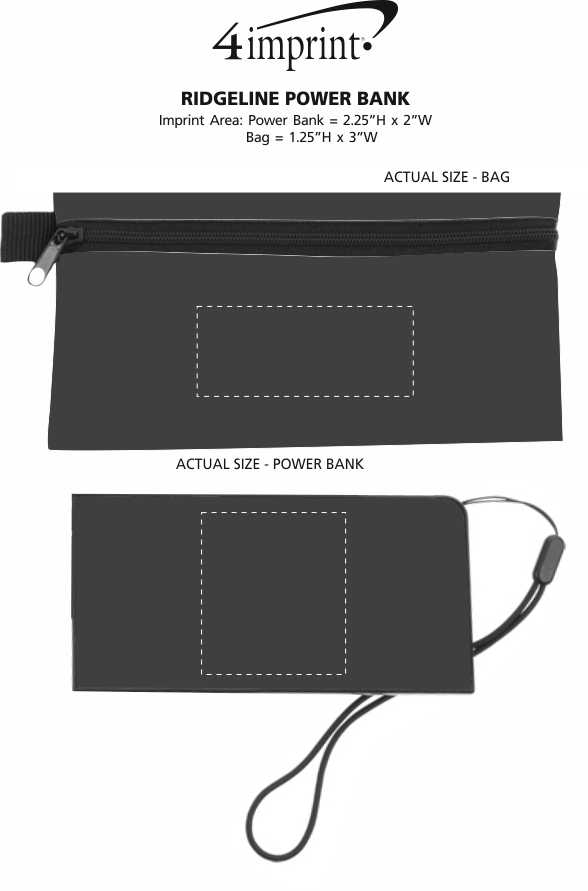 Imprint Area of Ridge Line Power Bank with Pouch