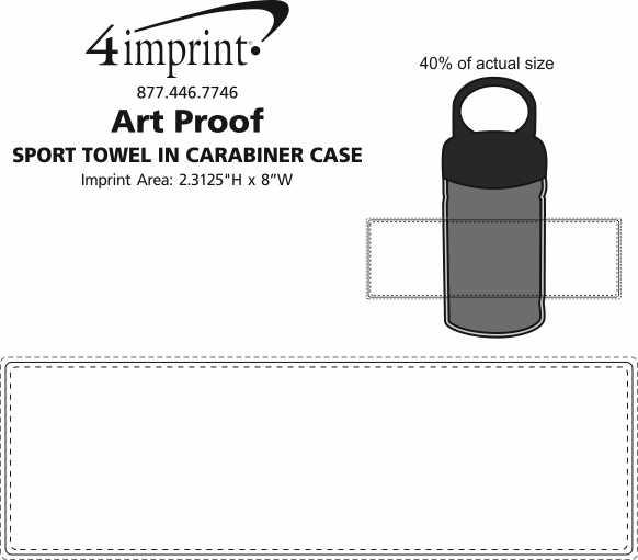 Imprint Area of Sport Towel in Carabiner Case