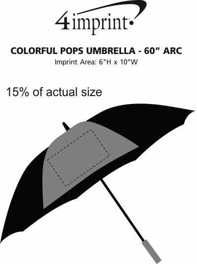 "Imprint Area of Colorful Pops Umbrella - 60"" Arc"