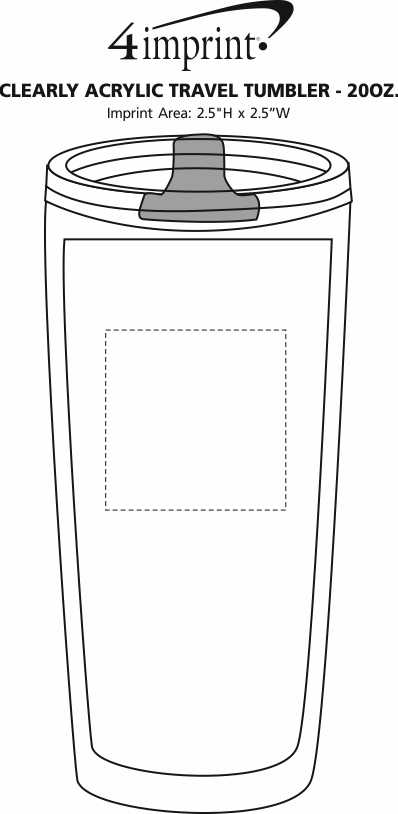 Imprint Area of Clearly Acrylic Travel Tumbler - 20 oz.