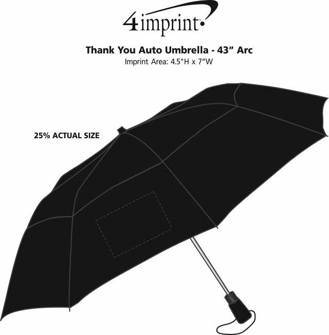 "Imprint Area of Thank You Auto Open Umbrella - 43"" Arc"
