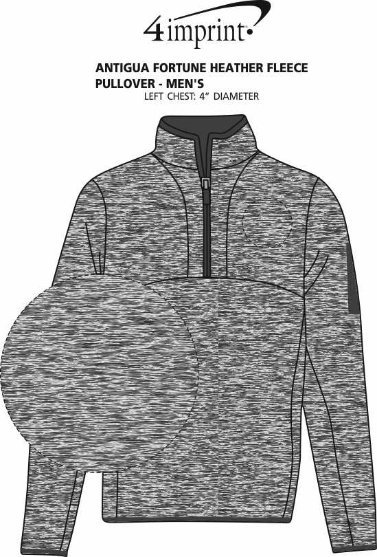 Imprint Area of Antigua Fortune Heather Fleece Pullover - Men's