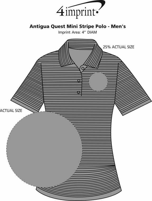 Imprint Area of Antigua Quest Mini Stripe Polo - Men's