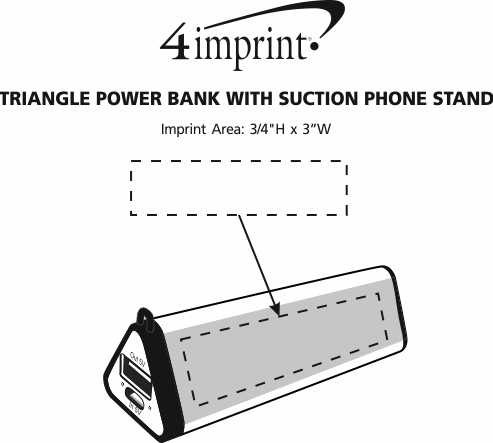 Imprint Area of Triangle Power Bank with Suction Phone Stand