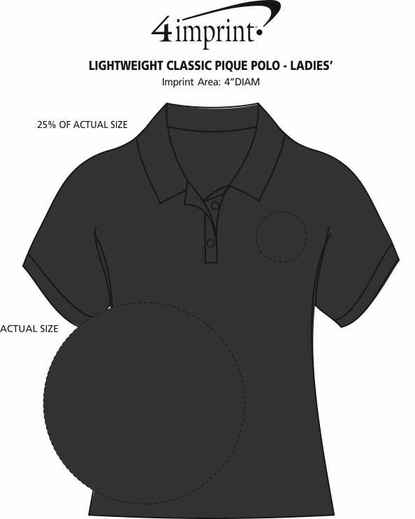 Imprint Area of Lightweight Classic Pique Polo - Ladies'