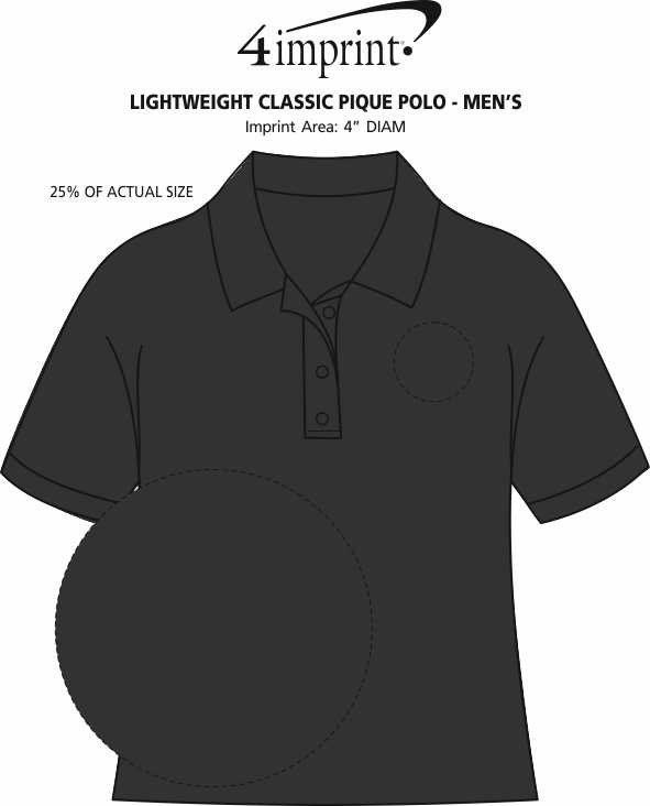 Imprint Area of Lightweight Classic Pique Polo - Men's