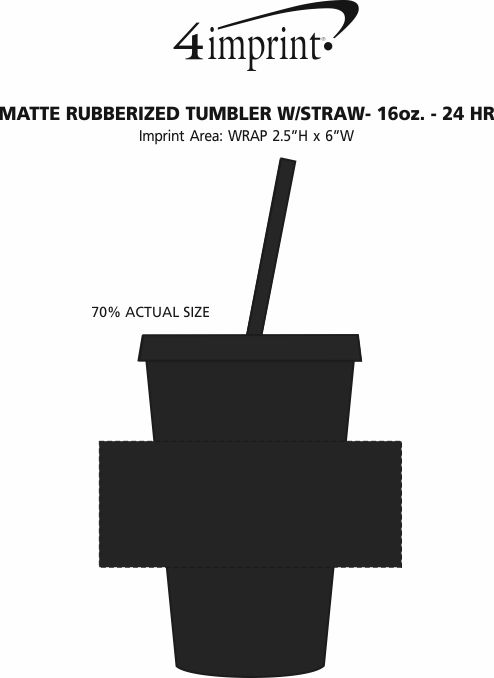 Imprint Area of Matte Rubberized Tumbler with Straw - 16 oz. - 24 hr