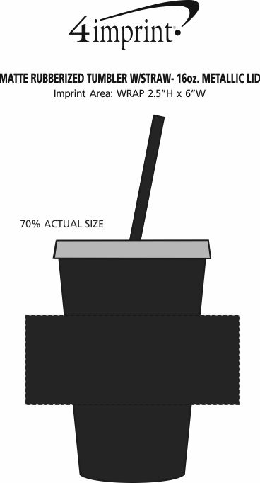 Imprint Area of Matte Rubberized Tumbler with Straw - 16 oz. - Metallic Lid