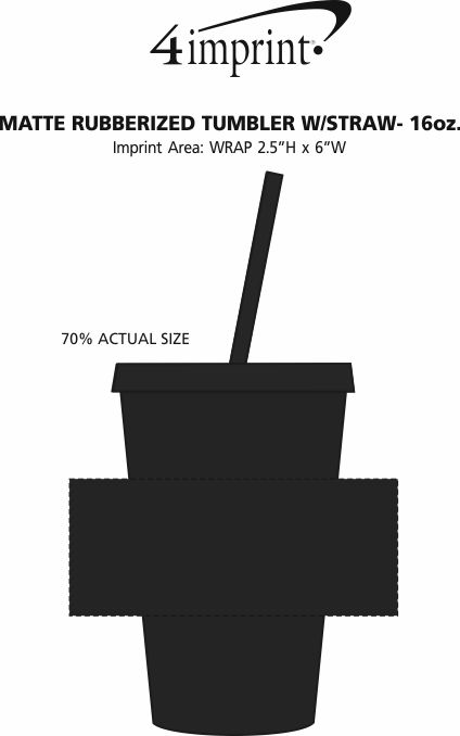 Imprint Area of Matte Rubberized Tumbler with Straw - 16 oz.