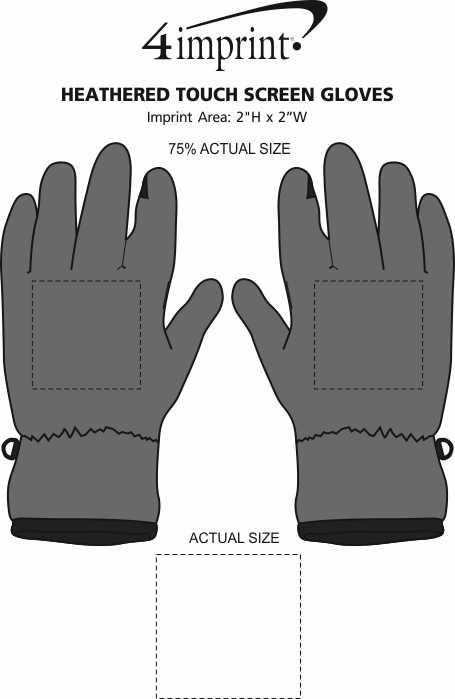Imprint Area of Heathered Touch Screen Gloves