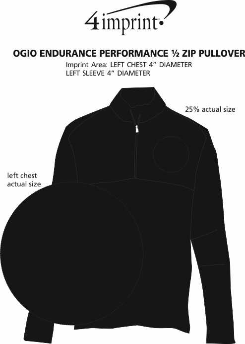 Imprint Area of OGIO Endurance Performance 1/2-Zip Pullover - Men's