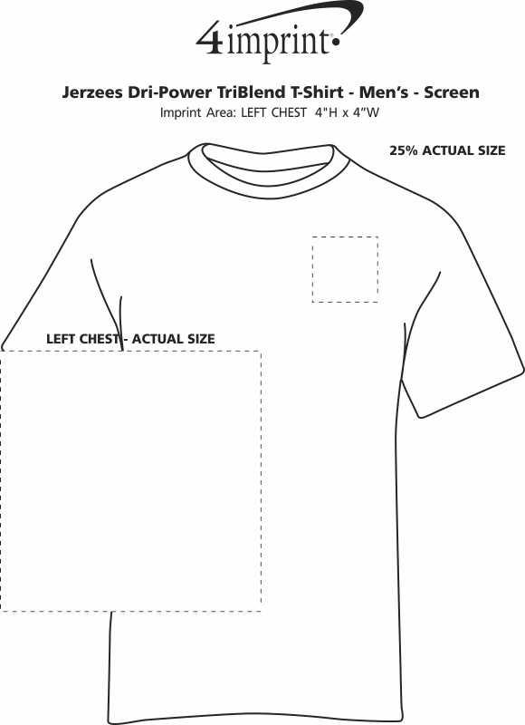 Imprint Area of Jerzees Dri-Power Tri-Blend T-Shirt - Men's - Screen