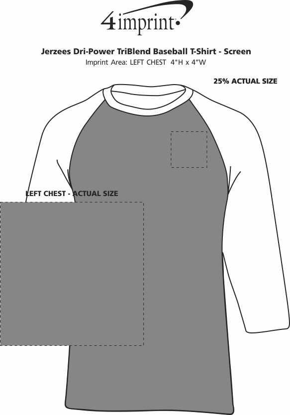 Imprint Area of Jerzees Dri-Power Tri-Blend Baseball T-Shirt - Screen
